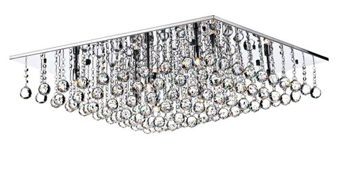 Abacus 8 Light 80cm Square Crystal and Chrome Flush Ceiling Light