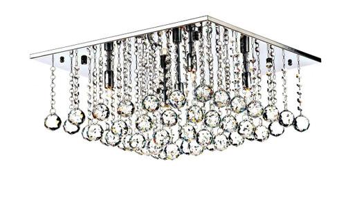 Abacus 5 Light 50cm Square Crystal and Chrome Flush Ceiling Light