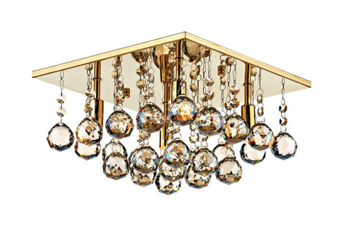 Abacus 4 Light 30cm Square Crystal and Gold Flush Ceiling Light