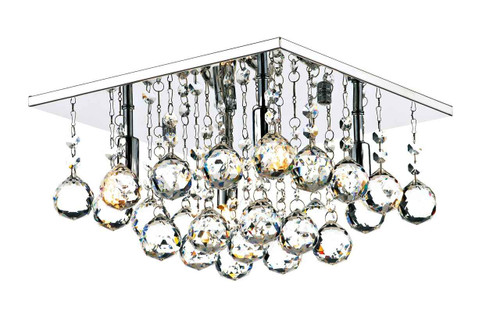 Abacus 4 Light 30cm Square Crystal and Chrome Flush Ceiling Light