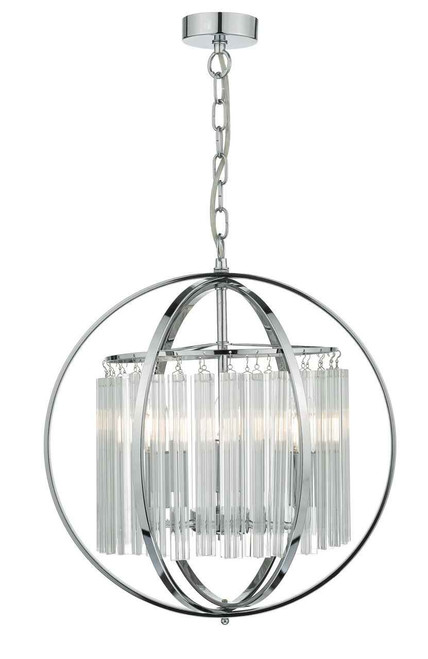 Abdul 3 Light Faceted Glass and Polished Chrome Pendant Light