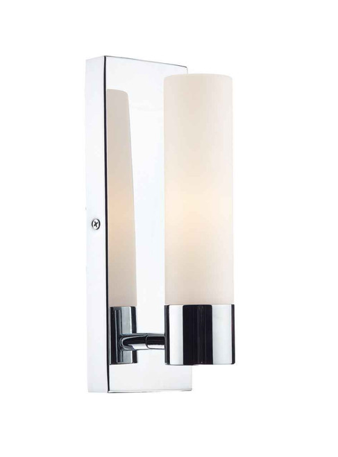 Adagio 1 Light Polished Chrome and Frosted Glass Wall Light IP44