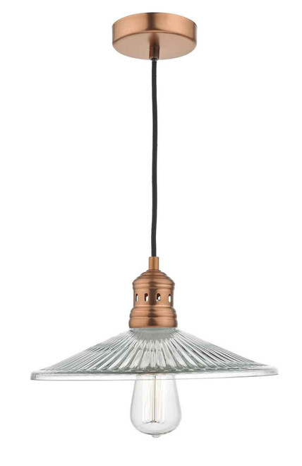 Adeline 1 Light Brushed Copper and Pressed Glass Pendant Light