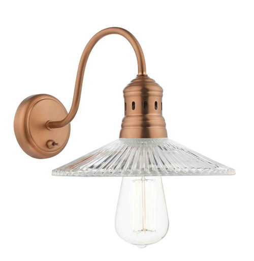 Adeline 1 Light Brushed Copper and Pressed Glass Wall Light