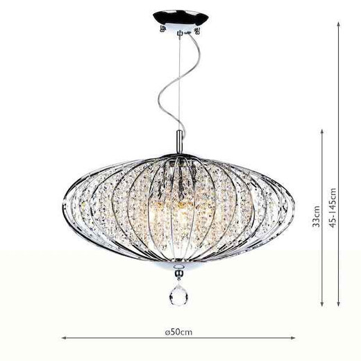 Adriatic 5 Light Polished Chrome and Faceted Crystal Pendant Light