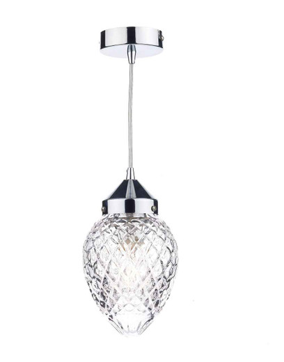 Agatha Polished Chrome and Moulded Glass Pendant Light