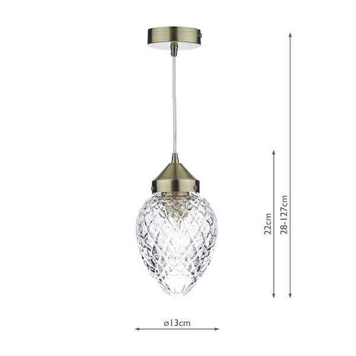 Agatha Antique Brass and Moulded Cut Glass Pendant Light