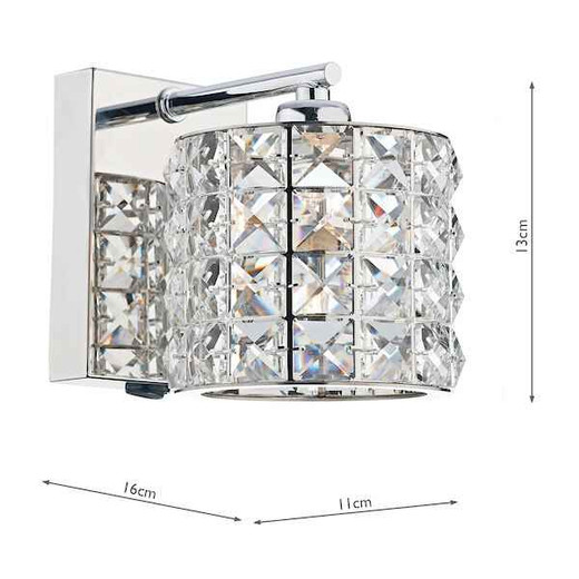Agneta 1 Light Polished Chrome and Clear Faceted Crystal Wall Bracket