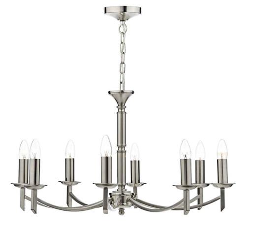 Ambassador 8 Light Dual Mount Satin Chrome Pendant Light Chandelier