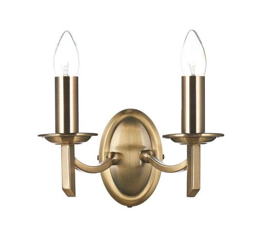 Ambassador Antique Brass Double Wall Light