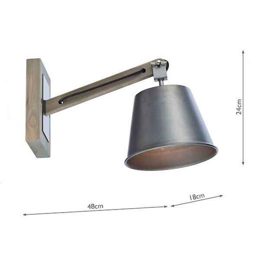 Arken 1 Light Raw Wood Wall Light with Grey Industrial Metal Shade