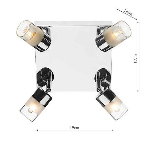 Artemis 4 Light Polished Chrome IP44 Ceiling Light Plate