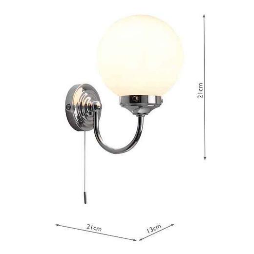 Barclay Polished Chrome IP44 Wall Light with Switch and Opal Globe