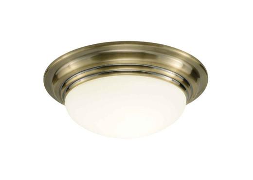 Barclay Antique Brass IP44 Large Flush Ceiling Light