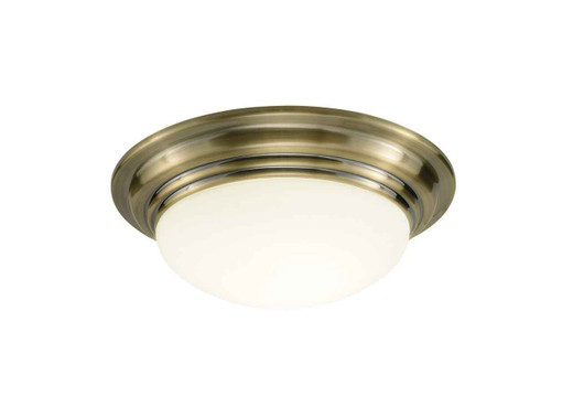 Barclay Antique Brass IP44 Small Flush Ceiling Light