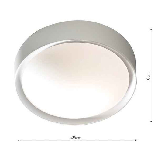 Beta Grey with Frosted Glass LED IP44 Flush Ceiling Light