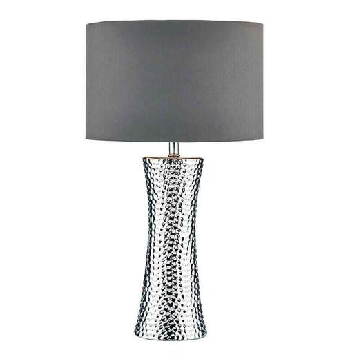 Bokara Silver with Grey Satin Drum Shade Table Lamp