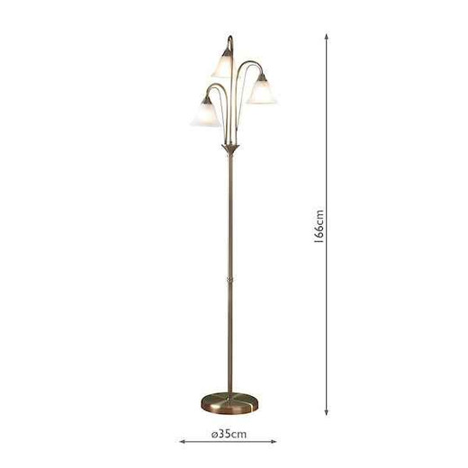Boston Antique Brass with Glass  Floor Lamp