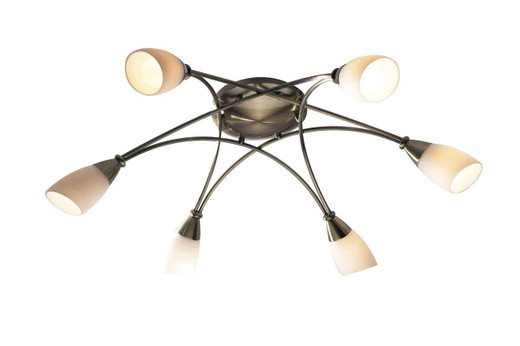 Bureau 6 Light Antique Brass Semi Flush Ceiling Light