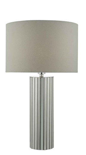 Cassandra Polished Chrome with Grey Cotton Drum Shade Table Lamp