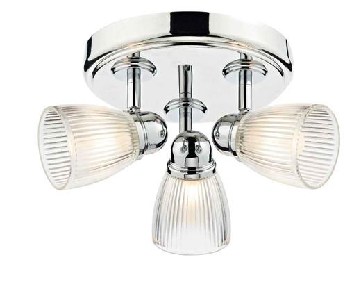 Cedric 3 Light Polished Chrome IP44 Bathroom Round Plate Spot Ceiling Light