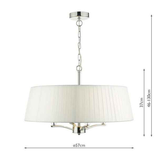 Cristin 4lt Polished Nickel with Ivory Ribbon Shade Pendant Light