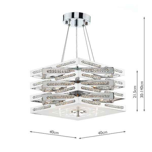 Cube 5 Light Polished Chrome with Crystal Glass Pendant Light