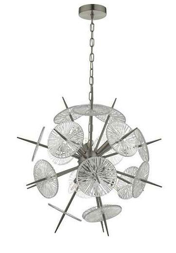Nabila 6 Light Satin Nickel & Glass Pendant Light