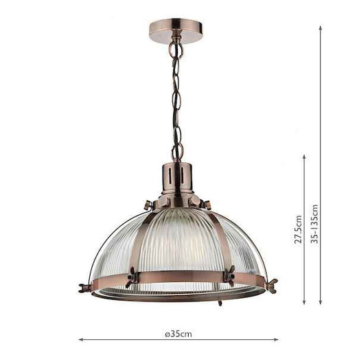 Debut Brushed Antique Copper and Glass Pendant Light