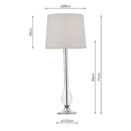 Dillon Clear Glass with White Shade Table Lamp