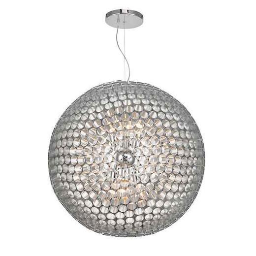 Serafina 6 Light Brushed Chrome Large Ball Feature Pendant Light