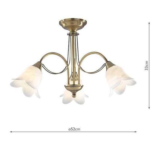 Doublet 3 Light Antique Brass with Alabaster Glass Semi Flush Pendant light
