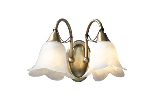 Doublet Antique Brass with Alabaster Glass Double Wall Light