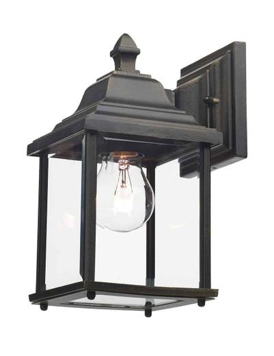 Doyle Black Gold IP44 Outdoor Lantern Wall Light