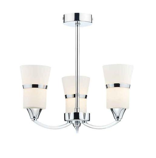Dublin 3 Light Polished Chrome and White Glass Semi Flush Ceiling Light