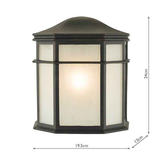 Dulbecco Black and Opal IP44 Outdoor Wall Light