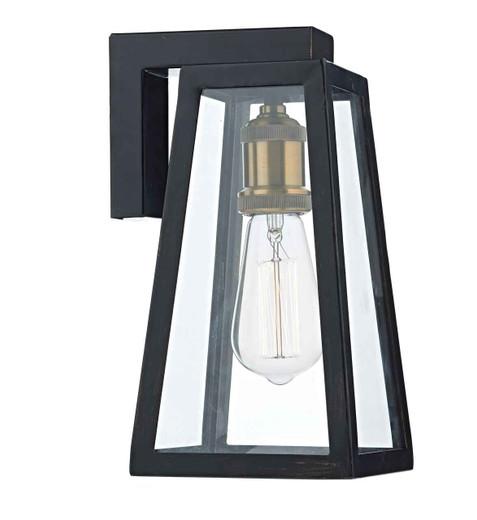 Duv Black and Gold Downlight IP43 Outdoor Wall Light
