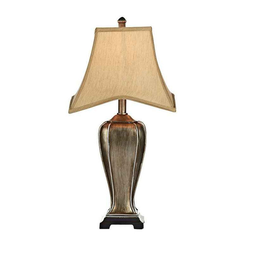 Emlyn Silver and Gold with Faux Silk Bound Edge Shade Table Lamp
