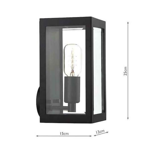 Era Black with Bevelled-Edge Glass IP44 Wall Light