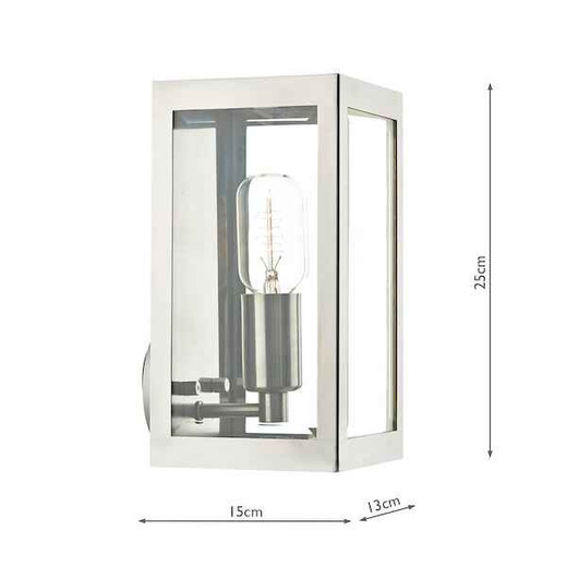 Era Stainless Steel with Bevelled-Edge Glass IP44 Wall Light