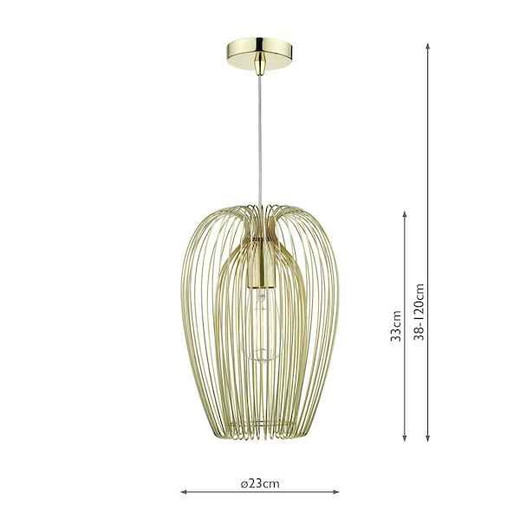 Ero Polished Gold Wire Pendant Light