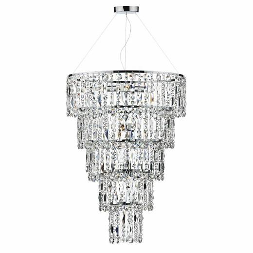 Dar Lighting Escala 6 Light Polished Chrome and Waterfall Crystal Round Pendant Light
