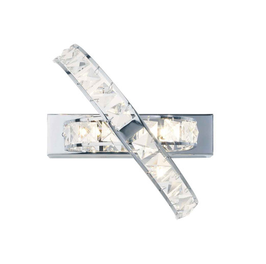 Eternity 3 Light Polished Chrome and Faceted Crystal Wall Light