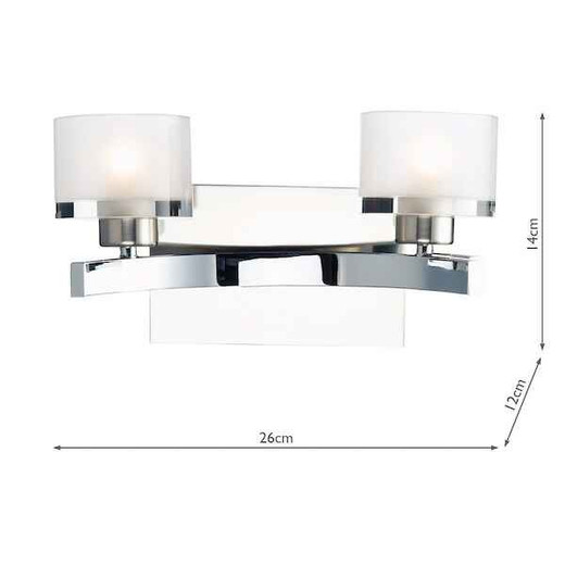 Eton Polished and Satin Chrome with White Glass Double Wall Light