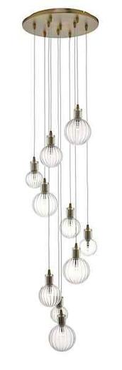Dita 10 Light Brass and Glass Cluster Pendant Light