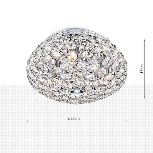 Frost 3 Light Polished Chrome and Crystal Flush Ceiling Light