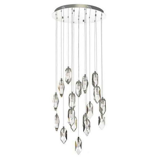 Crystal 18 Light Polished Chrome and Crystal Cluster Pendant Light