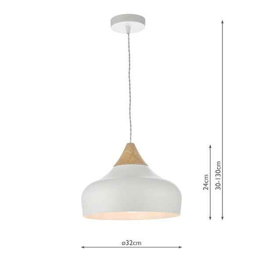 Gaucho White Metal and Wood Pendant Light