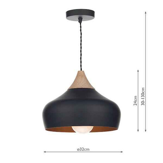 Gaucho Black Metal and Wood Pendant Light