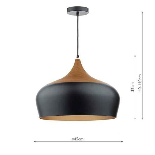 Gaucho Black Metal and Wood Large Pendant Light
